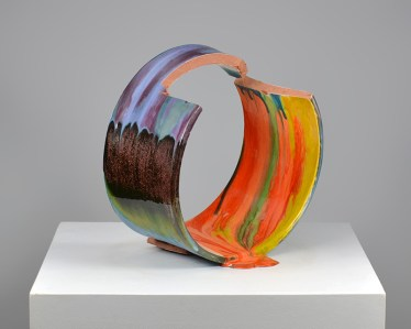 "Lauren Mabry, ""Spilling Fragment (Orange Spill)"" 2016, red earthenware, slips, glaze, 16 x 15.5 x 11.5""."