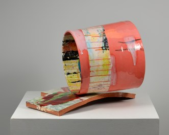 "Lauren Mabry, ""Contain or Deliver"" 2016, red earthenware, slips, glaze, 12 x 20 x 16""."