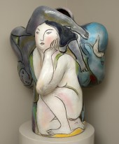 "Rudy Autio, ""Inside Looking Out"" 1987–88, glaze, stoneware, 37 x 30 x 26""."