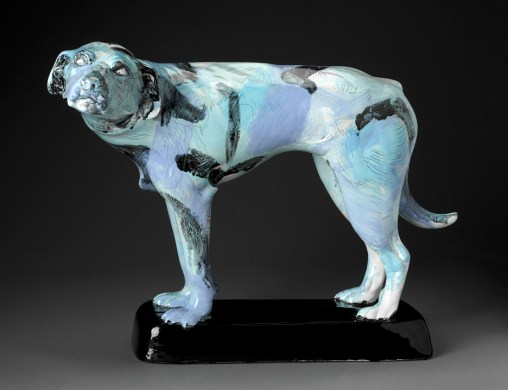 "Jack Earl, ""CEL 001 Ohio Dog"" 1976, vitreous china, 20 x 26 x 14.5"". (Pennington)"