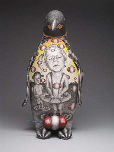 "Jason Walker, ""Expecting"" 2010, porcelain, underglaze, 15 x 9 x 10""."