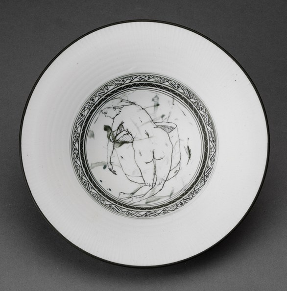 "Edward Eberle, ""The Bath"" 1994, porcelain, terra sigillata, thrown, brush painted, sgraffito, 6.25""."