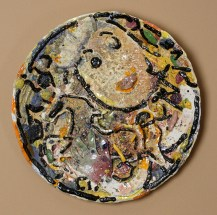"Viola Frey, ""Untitled Platter"" 1982, earthenware, slip, glaze, 25"". photo: John Polak (Pennington)"