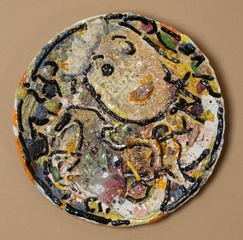 "Viola Frey, ""Untitled Platter"" 1982, earthenware, slip, glaze, 25"". photo: John Polak (Pennington)"