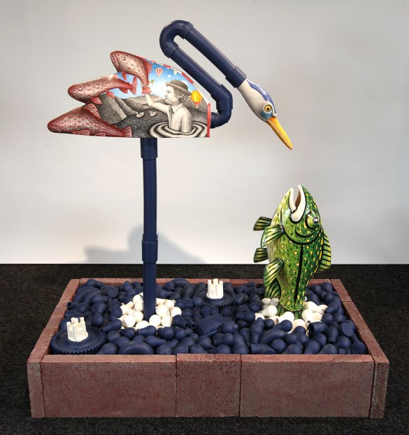 "Jason Walker, ""Phishing"" 2014, porcelain, stoneware, underglaze, china paint, 24"" x 48"" x 52"" ."