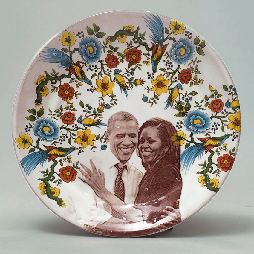 "Justin Rothshank, ""Barak and Michelle Obama Salad Plate"" 2017, earthenware, glaze, ceramic decals, 1.25 x 9""."