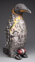 "Jason Walker, ""Expecting"" 2010, porcelain, underglaze, 15 x 9 x 10""."