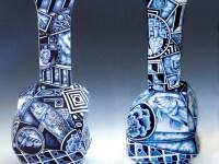 "Kurt Weiser, ""Pair of Cubist Vases (2)"" 2013, porcelain, cobalt pigment, glaze, 23.5 x 12 x 10""."