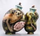 """Kurt Weiser, """"Masquerade"""" 2002, porcelain, china paint, 13 x 14""""."""