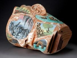 "Michael Lucero, ""North American Dreamer"" 1984, slip-glazed, earthenware, 21 x 25 x 24""."