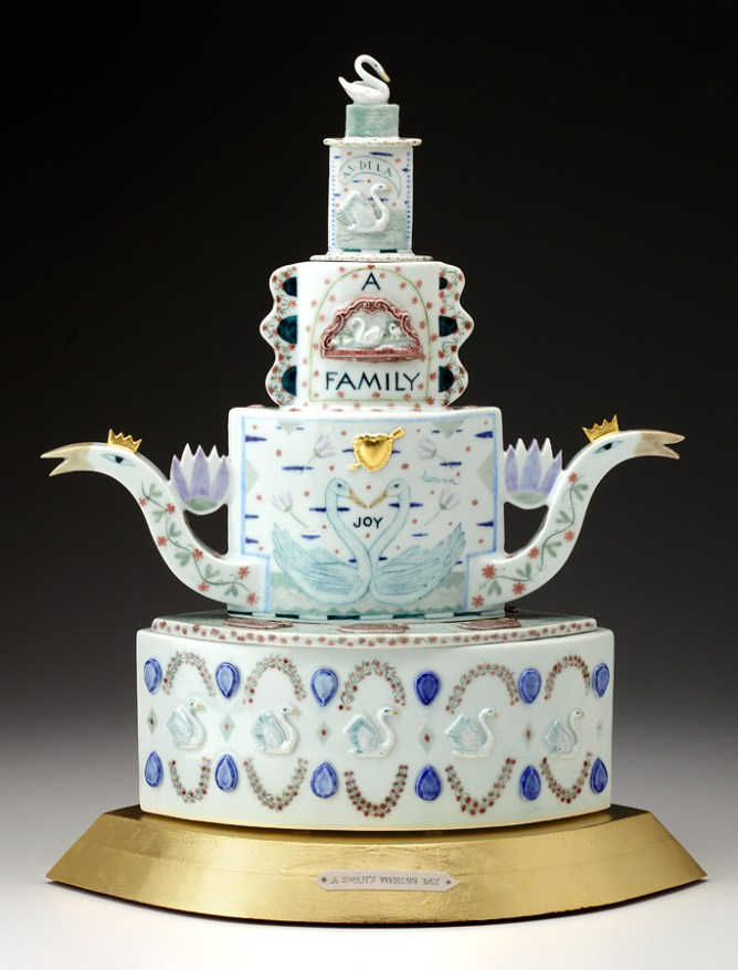 "Mara Superior, ""A Swan's Wedding Day"" 2008, porcelain, glaze, wood, gold leaf, bone, ink, 21 x 17 x 11""."