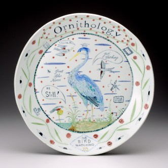 "Mara Superior, ""Ornithology"" 2011, porcelain, glaze, 16""."