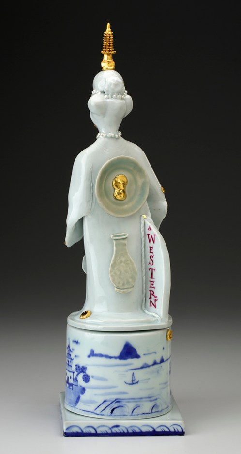 "Far Eastern Goddess #1"" 2016, porcelain, underglaze, glaze enamel, gold leaf, wooden found object, 16 x 5 x 5"". photo: John Polak"