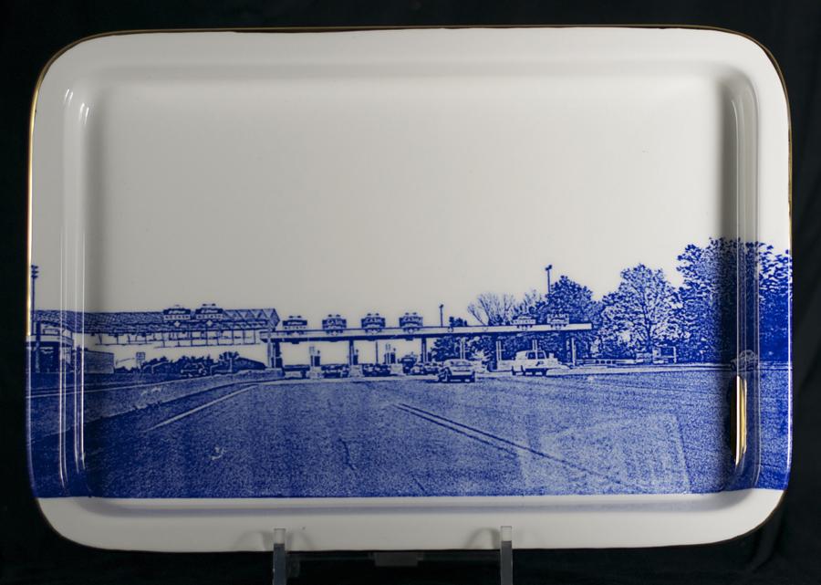 "Paul Scott, ""Scott's Cumbrian Blue(s), American Scenery, (New Jersey) Turnpike No: 3"" 2014, screen print, (in-glaze decal) on Portmeirion platter, 13.5 x 9.25 x 1""."