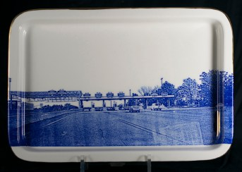 "Paul Scott, ""Scott's Cumbrian Blue(s), American Scenery, (New Jersey) Turnpike No: 3"" 2014, screen print, (in-glaze decal) on Portmeirion platter, 13.5 x 9.25 x 1""."