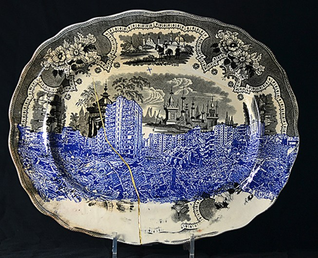 "Paul Scott, ""Palestine, Gaza"" 2015, inglaze decal collage, gold lustre, Adams Palestine platter c.1840, 15 x 11.75""."