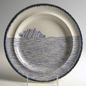 "Paul Scott, ""Scott's Cumbrian Blue(s), Scott's Italian, Costa Concordia No. 3"" 2013, inglaze decal collage, gold luster on feather edged pearlware plate c. 1820, 9.75""."