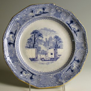 "Paul Scott, ""Scott's Cumbrian Blue(s), American Scenery, (Untitled)"" 2013, Inglaze decal collage, gold luster on partially erased Lozere Ironstone plate c.1840, 9.75 x 1""."