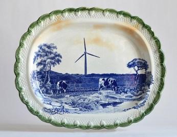 "Paul Scott, ""Scott's Cumbrian Blue(s), American Scenery, Turbine No. 2"" 2015, glaze, decal, gold, c. 1840 green pearlware platter, 15.5 x 19 x 2.25""."