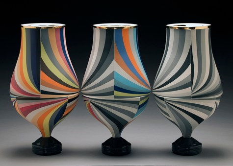 "Peter Pincus, ""Trio of Vases IV"" 2016, colored porcelain, colored slip, gold lustre, 18 x 30 x 10""."