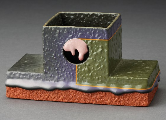 "Ron Nagle, ""Incense Burner"" 1990–1991, glaze, ceramic, 2.75 x 5.25 x 2.5""."