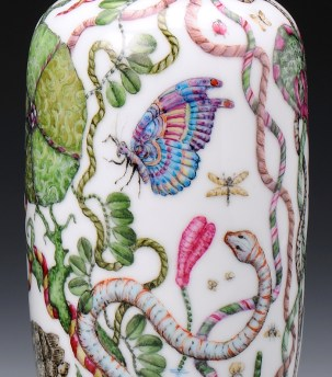 "Robin Best, ""The Travels of William Bartram"" (detail), 2014, porcelain, onglaze 'xin cai' painting, 7.75 x 3.75""."