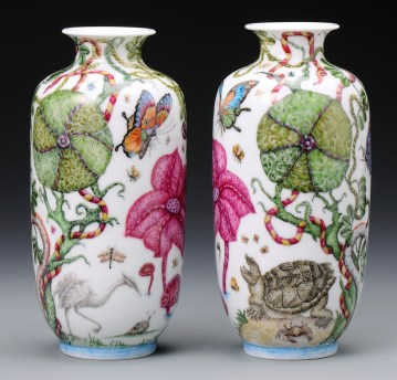 "Robin Best, ""The Travels of William Bartram"" 2014, porcelain, onglaze 'xin cai' painting, 7.75 x 3.75""."