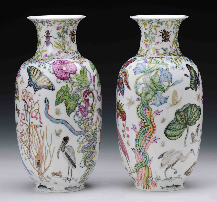 "Robin Best, ""The Florida Vases"" 2014, porcelain, onglaze 'xin cai' painting, 10.5 x 6.25""."