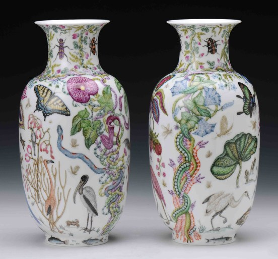 """Robin Best, """"The Florida Vases"""" 2014, porcelain, onglaze 'xin cai' painting, 10.5 x 6.25""""."""