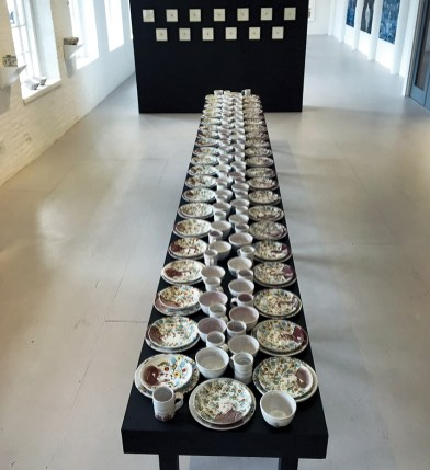 """Justin Rothshank, """"Dinner with the Presidents"""" 2016-7, earthenware, glaze, ceramic decals."""