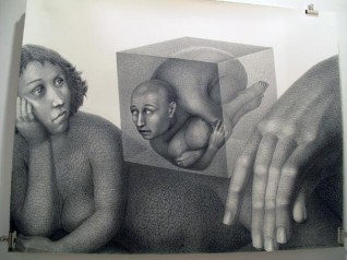 "Sergei Isupov, ""Waiting"" 2010, charcoal on paper, 46.5 x 60""."