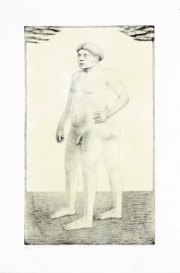 """Sergei Isupov, """"Daddy"""" 2003, intaglio and siligraphy, image: 24 x 14"""", paper: 30 x 19""""."""