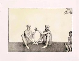 """Sergei Isupov, """"Stuck in the Middle"""" 2003, intaglio, siligraphy, image: 16 x 24"""", paper: 22.5 x 30""""."""
