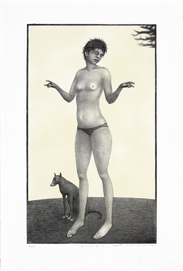 """Sergei Isupov, """"Wicked Alice"""" 2003, intaglio and siligraphy, image: 24 x 14"""", paper: 30 x 19""""."""
