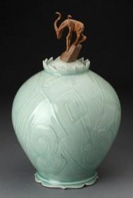 "Adrian Saxe, ""Untitled Antelope Jar"" 1979, glaze, porcelain, 14.75 x 9""."