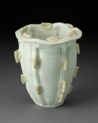 "Rudolph Staffel, ""Untitled Vessel"" 1975, porcelain, 7.25 x 6.25""."