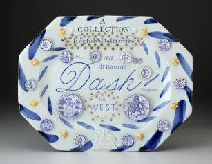 """Mara Superior, """"English Delftware: A Collection of Blue Dash Chargers"""" 2016, porcelain, earthenware, glaze, gold leaf, 12 x 15 x 2""""."""