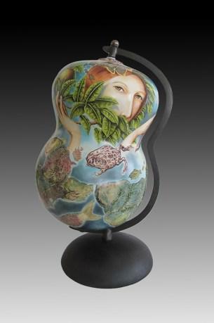 "Kurt Weiser, ""Meridian"" 2009, porcelain, china paint, metal, 30"" x 16"" x 16""."