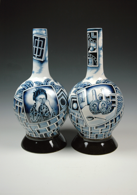 "Kurt Weiser, ""Hear No Evil Double Bottle"" 2013, porcelain, 18 x 16 x 8.5""."