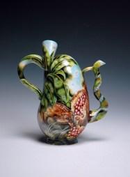 """Kurt Weiser, """"Wildfall"""" 2013, reverse, china painted porcelain, 9.5 x 8 x 4""""."""