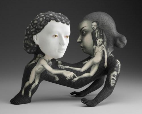 "Sergei Isupov, ""St. Valentine"" 2013, porcelain, slip, glaze, 12.5 x 16 x 8""."