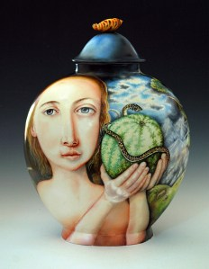 "Kurt Weiser, ""Fruit Story"" 2013, china painted porcelain, 19 x 13 x 7""."