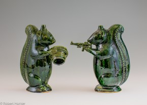 "Michelle Erickson, ""Green Squirrel and The Second Amendment Squirrel"" 2013, indigenous clay, copper glaze, 8""."