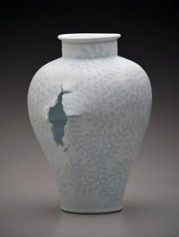 "Steven Young Lee, ""Jar with Vine Pattern"" 2014, porcelain, white slip, glaze, 19 x 15 x 13"""