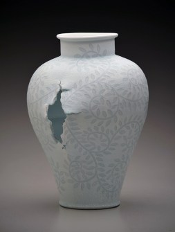 "Steven Young Lee, ""Jar with Vine Pattern"" 2014, porcelain, white slip, glaze, 19 x 15 x 13"""