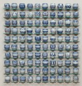 "Steven Young Lee, ""Blue Cup Panel"" 2013, porcelain with cobalt inlay, 46 x 50 x 4"". photo courtesy Greenwich House Pottery"