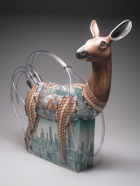 "Jason Walker, ""Standing in the Grass"" 2009, porcelain, underglaze, plastic tubing, resin, 19 x 20 x 7""."