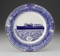 "Paul Scott, ""Cumbrian Blue(s) - The Hartlepool Ghost Ships"" 2013, in-glaze decal, gold lustre on bone china plate, 12"" diameter."
