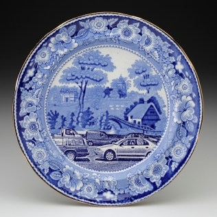 "Paul Scott, ""Cumbrian Blue(s) - After the By-Pass (Wild Rose)"" 2012, in-glaze decal, gold lustre on old earthenware plate (c.1850), 10.25"" diameter."