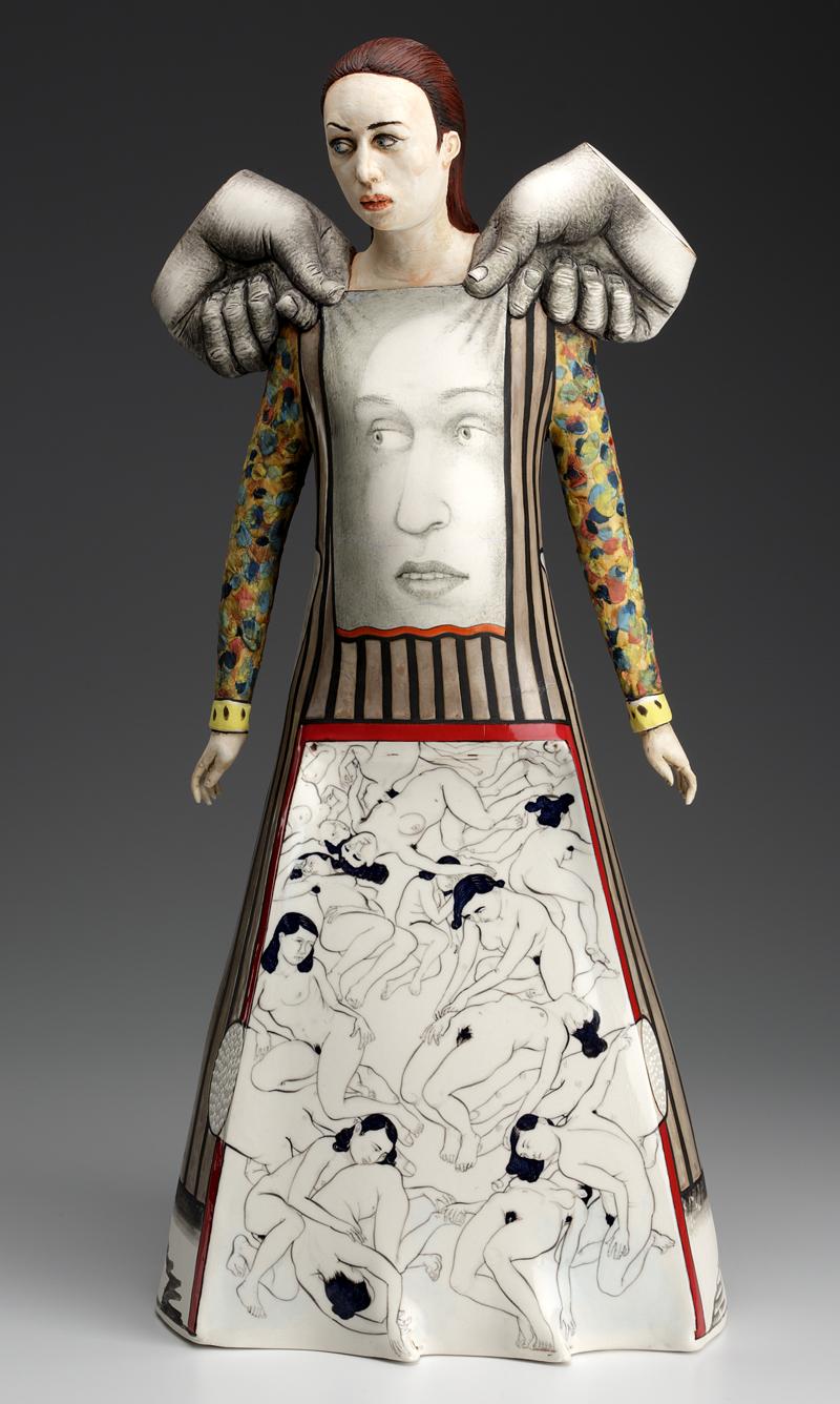 """Sergei Isupov, """"Farewell to the Theater"""" 2013, porcelain, slip, glaze, 22.5 x 10 x 7.5""""."""